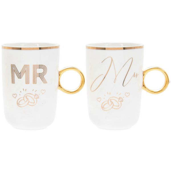 MR & MRS  RING MUGS 2SET