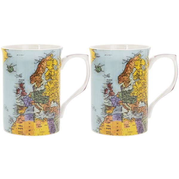 WORLD TRAVELLER SET OF 2 MUGS
