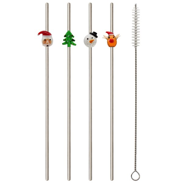XMAS STRAWS SET OF 4