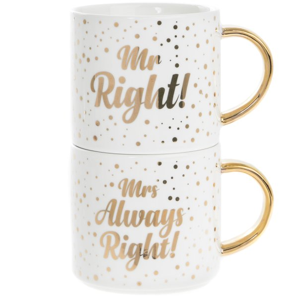 MR/MRS RIGHT STACKING MUGS 2S