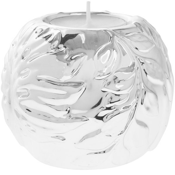 SILVER ART LEAF TEA LIGHT