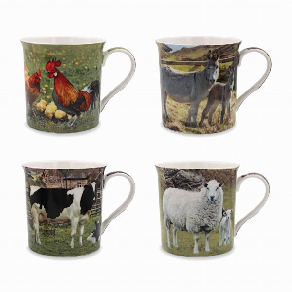 FARMYARD ANIMAL MUGS 4 ASST