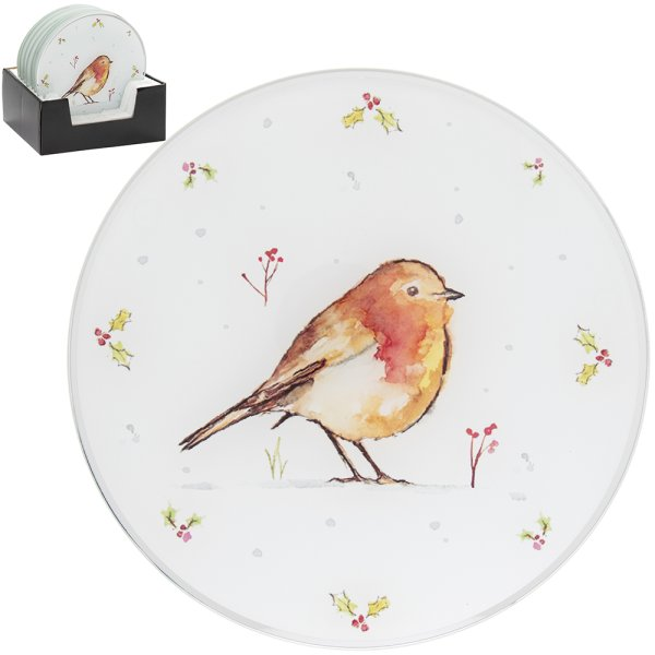 WINTER ROBINS CANDLE PLATE20CM