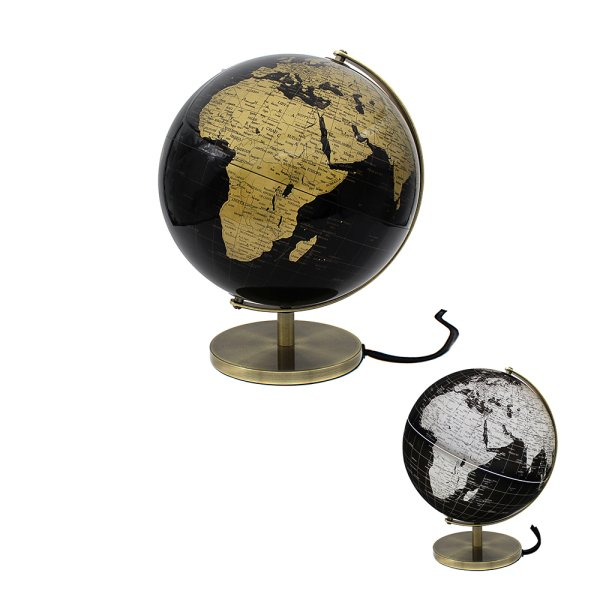 GLOBE BLACK & GOLD LIGHT UP