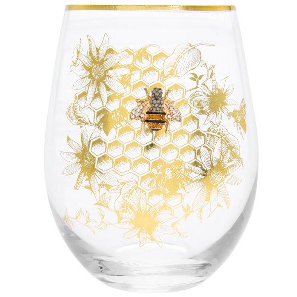 HONEYCOMB BEE STEMLESS GLASS
