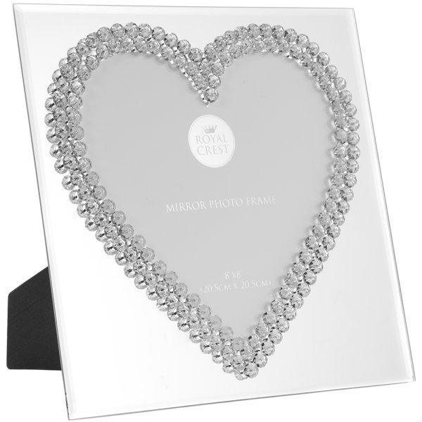 "MIRROR DIAMANTE HEART FRM 8X8"""