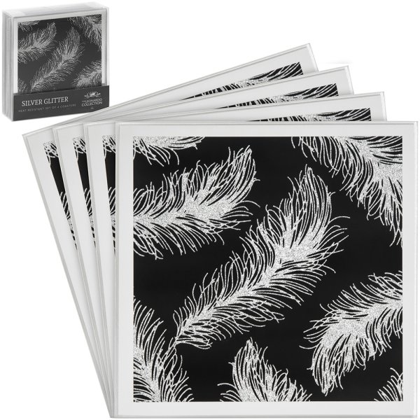 BLK FEATHER MIRROR COASTERS 4S