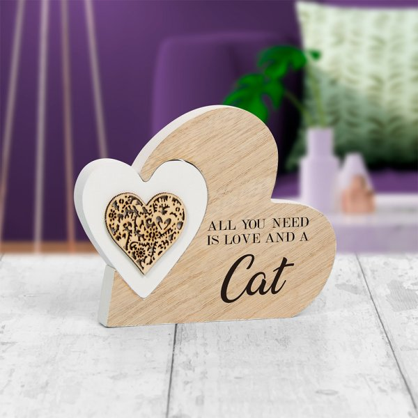 DBL HEART PLAQUE LOVE & CAT