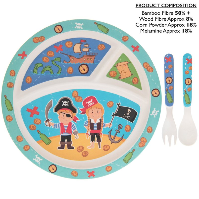 BAMBOO ECO EATING SET PIRATE