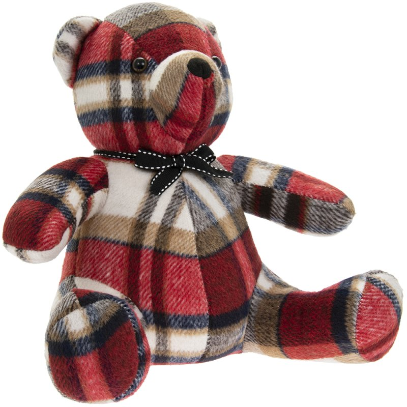 RED CHECK TEDDY DOORSTOP