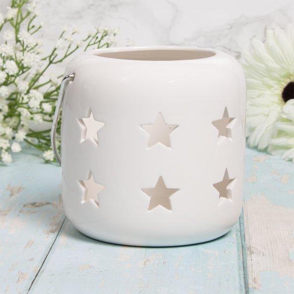 STARS LANTERN WHITE 12CM