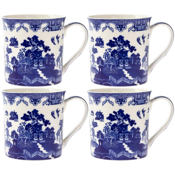 BLUE WILLOW MUGS 4 SET