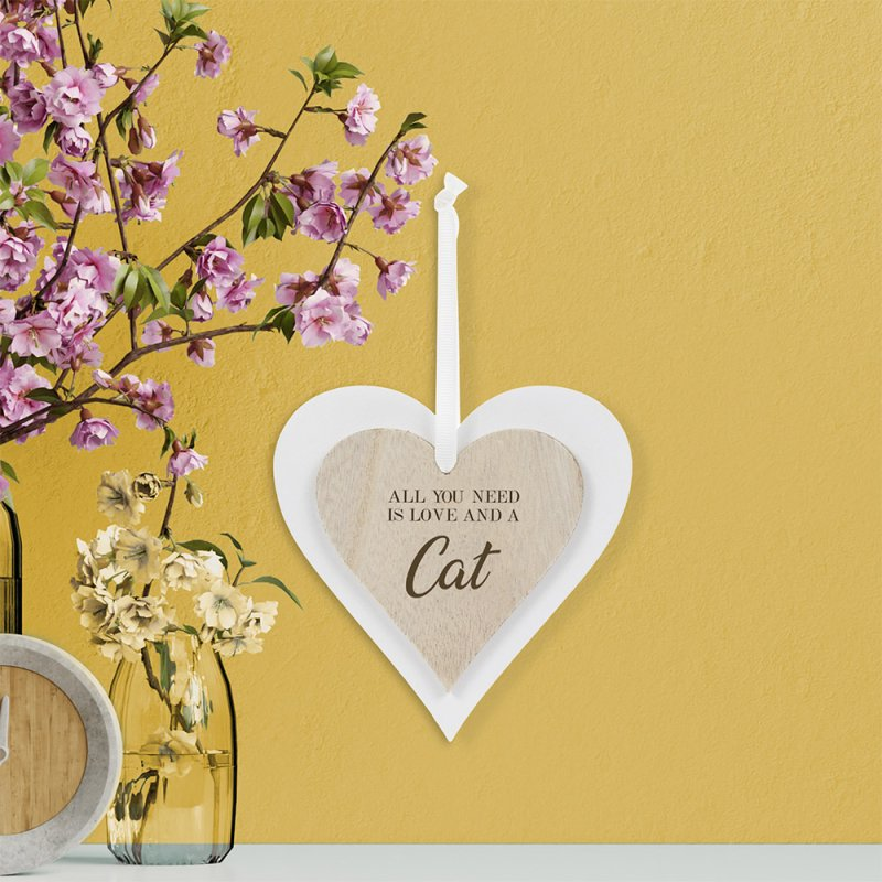 DBL HEART PLAQUE CAT