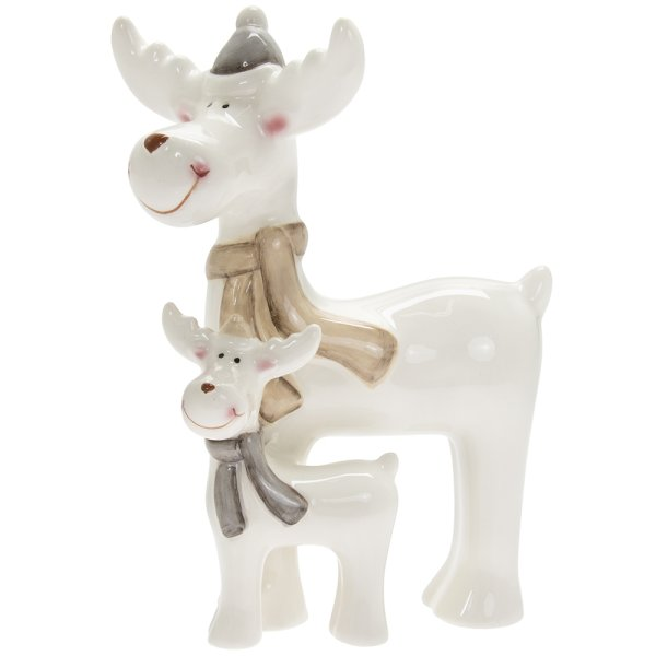 REINDEER WITH BABY WHITE MED