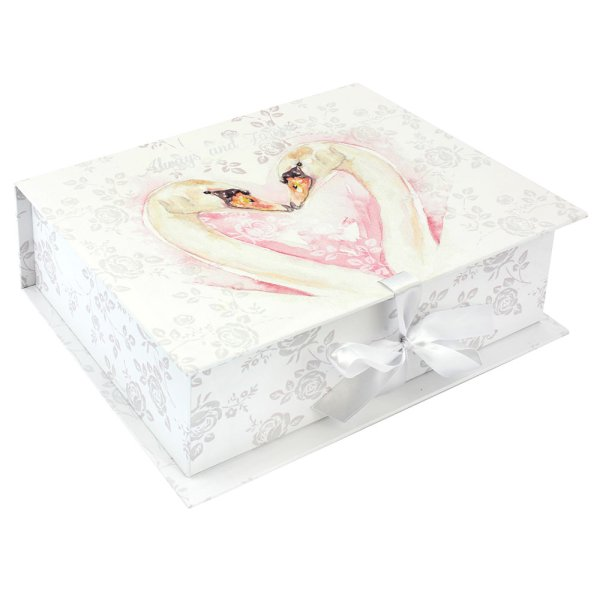 LOVING SWANS KEEPSAKES BOX