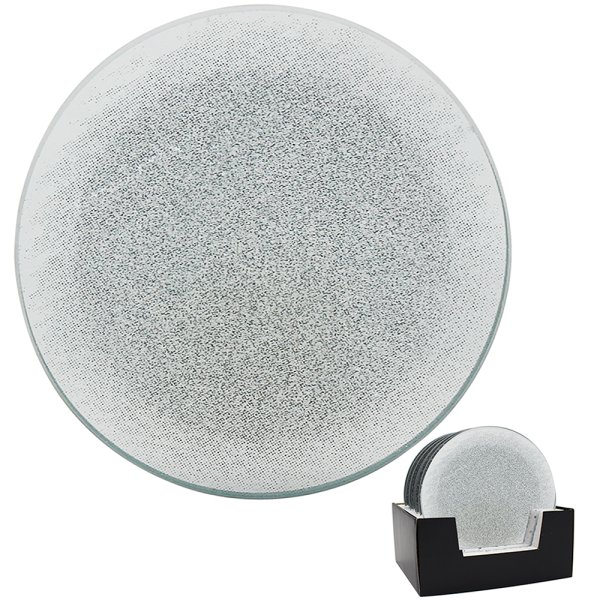SILVER GLITTER CANDLE PLT 20CM