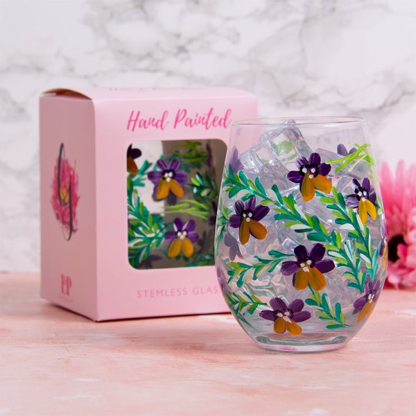 PANSIES STEMLESS GLASS