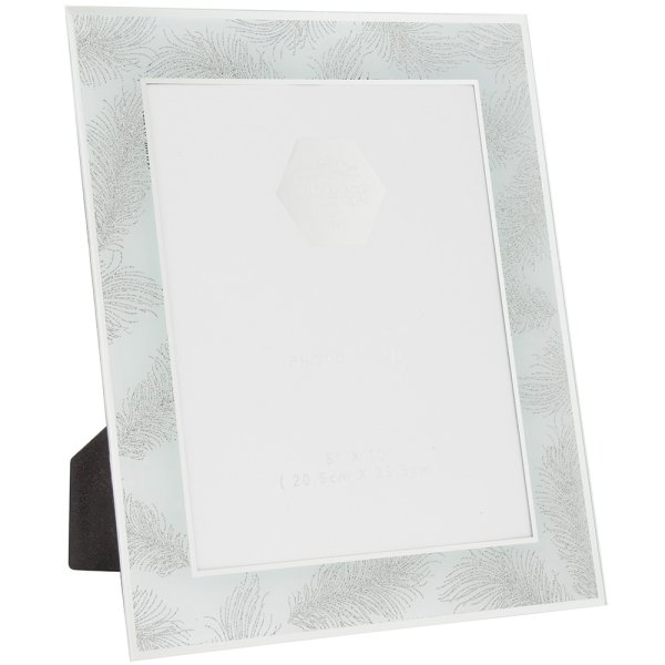 SIL FEATHER WHT MIRRFRAME 8X10