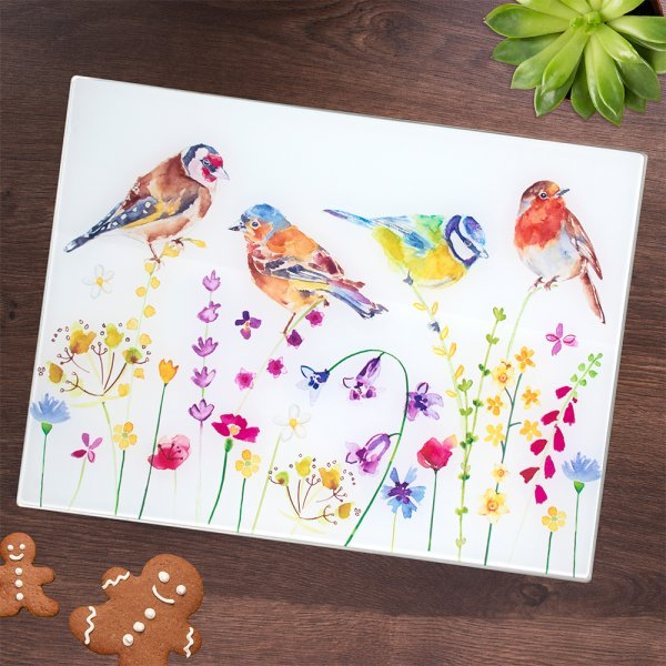 GARDEN BIRDS CUTTING BOARD