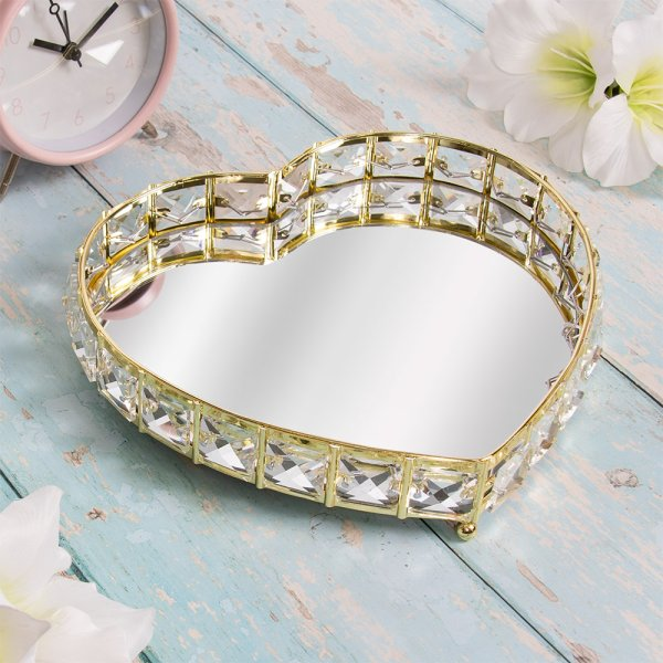 GOLD CRYSTAL TRAY HEART S