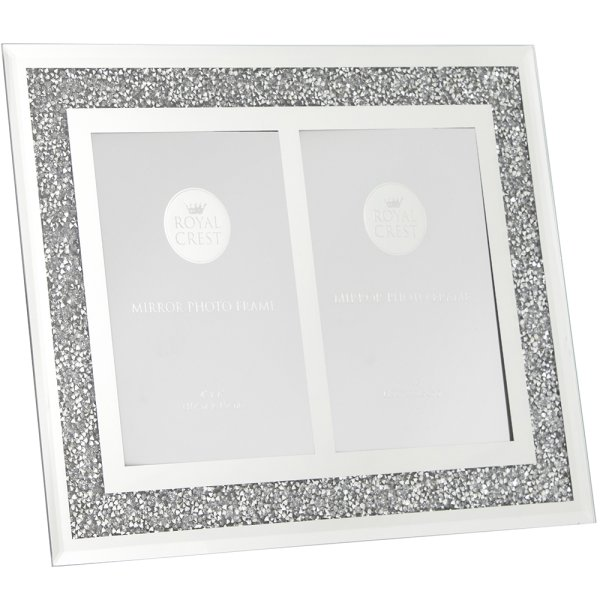 MIRROR DIAMANTE TWINFRAME 4X6""