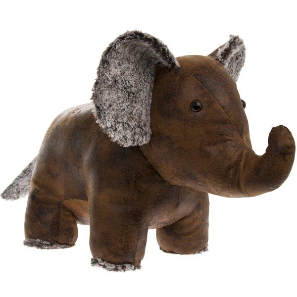 FAUX LEATHER ELEPHANT DOORSTOP