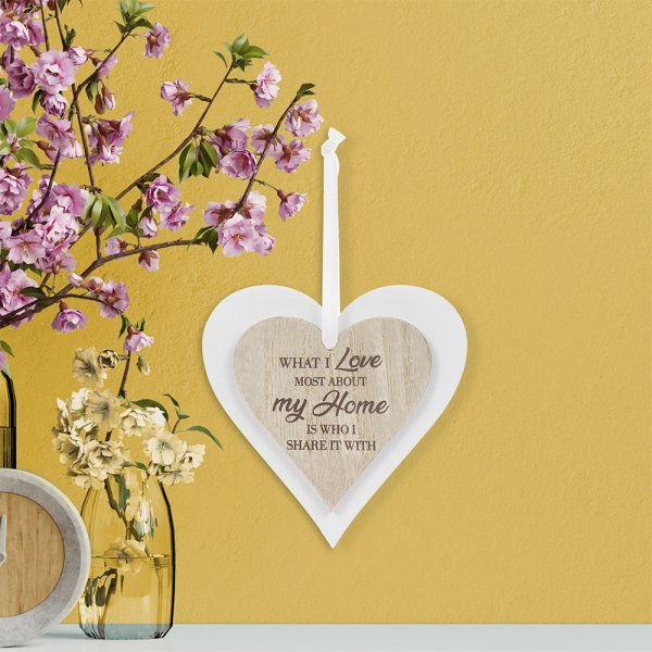 DOUBLE HEART PLAQUE MY HOME
