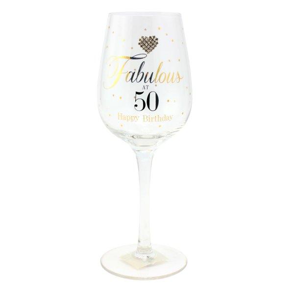 MAD DOTS FAB AT 50 WINE GLASS