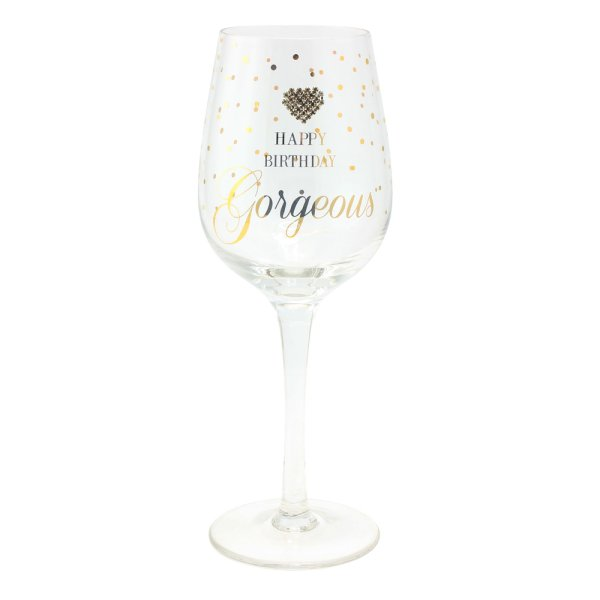 MAD DOTS HAPPY BDAY WINE GLASS