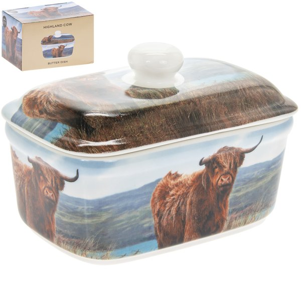 HIGHLAND COW BUTTER DISH