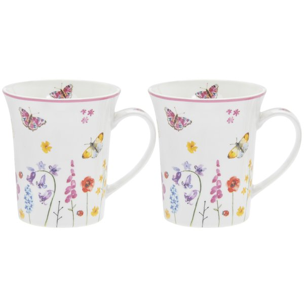 BUTTERFLY GARDEN MUGS 2 SET