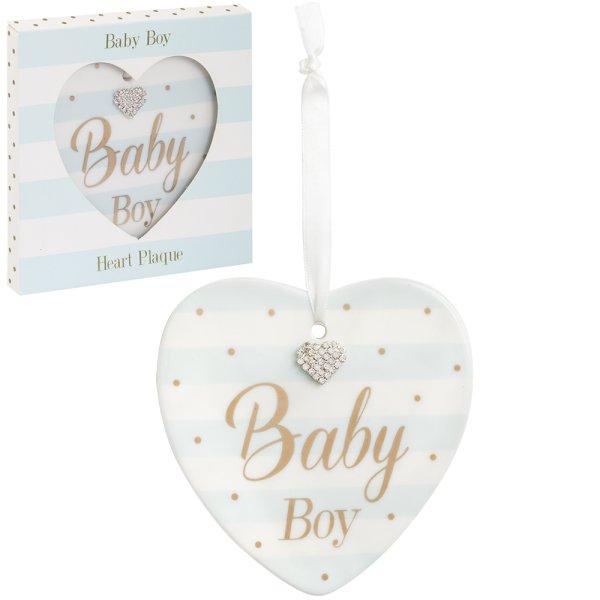MAD DOTS BABY BOY HEART PLQ