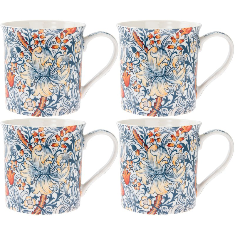 GOLDEN LILY MUGS 4 SET