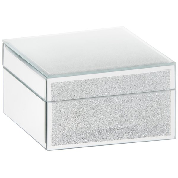 WHITE & SILV GLITTER JEWEL BOX