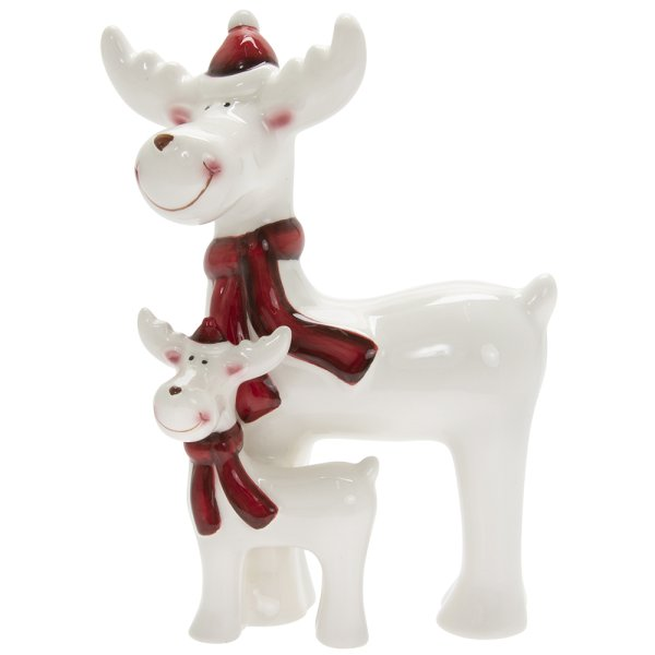 REINDEER WITH BABY WHITE&RED M