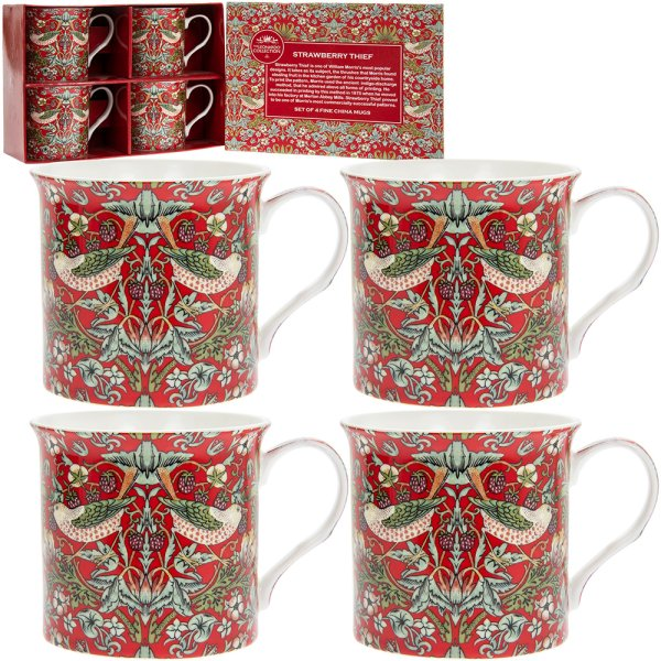 RED STRAWBERRY THIEF MUGS S4