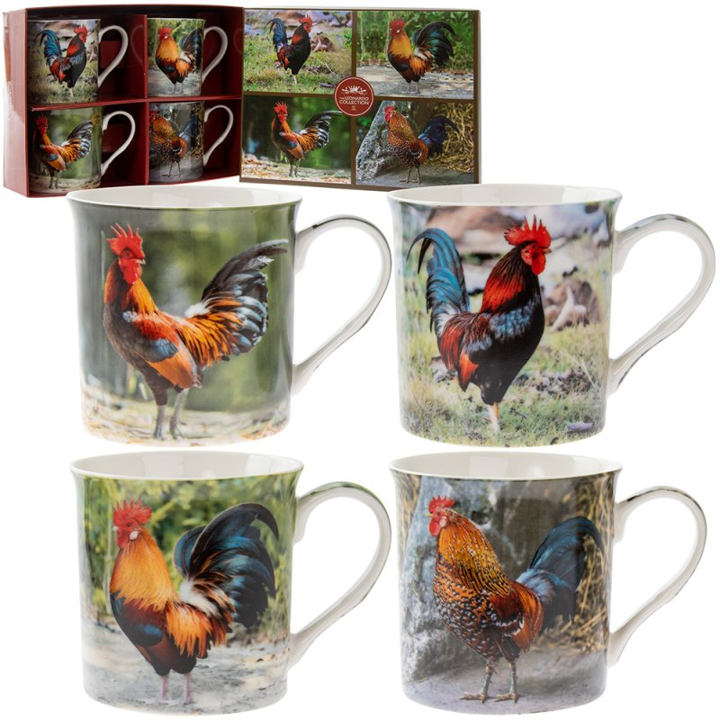 COCKEREL MUGS SET OF 4