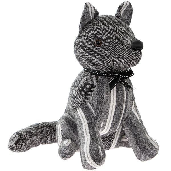 GREY STRIPES FOX DOORSTOP
