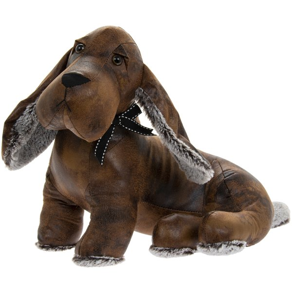 FAUX LEATHER DACHSHUND DOORSTP