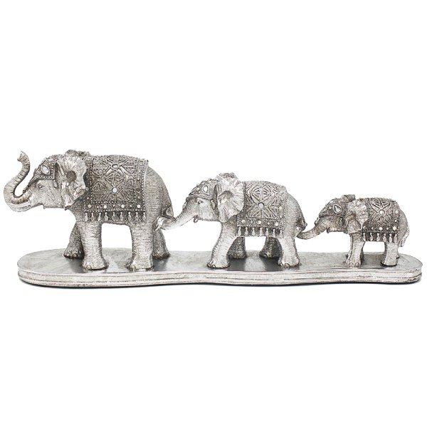 SILVER ART ELEPHANT FAMILY