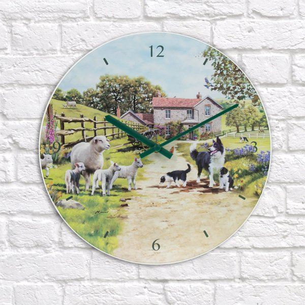 COLLIE & SHEEP GLASS CLOCK