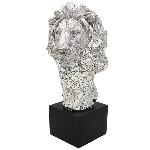 SILVER ART LION BUST