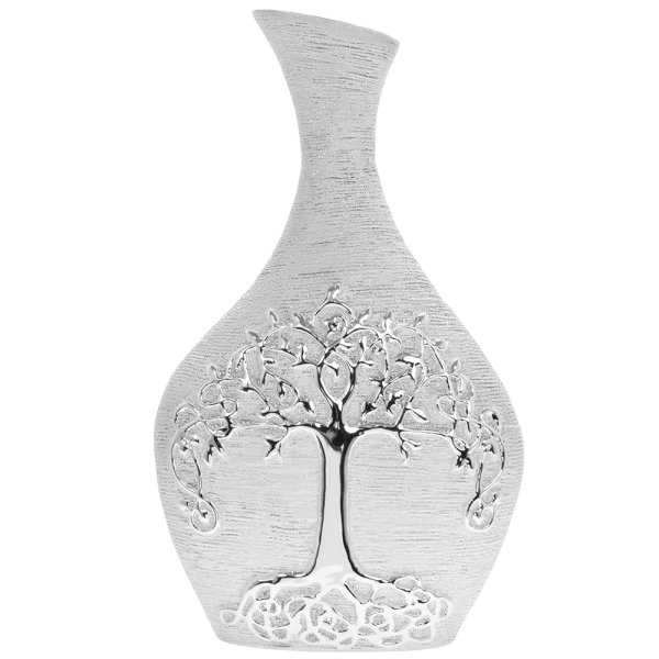 SILVER ART TREE OF LIFE VASE