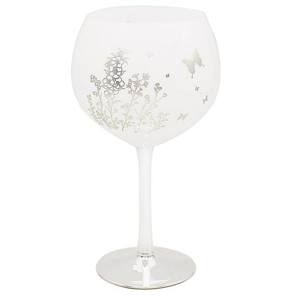 BUTTERFLY SIL/WHT GIN GLASS