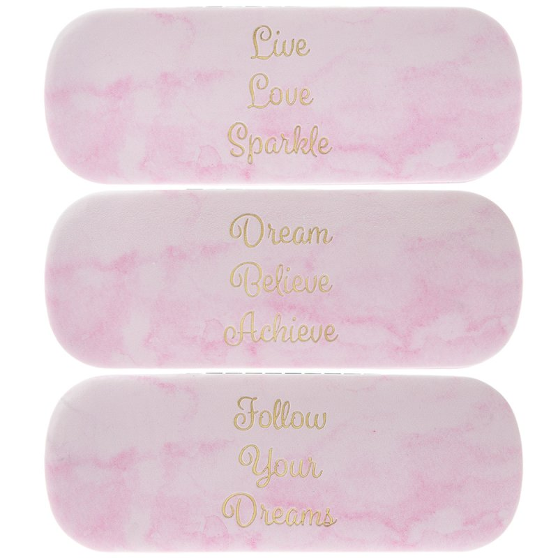 MARBLE PINK GLASSES CASE 3 ASS