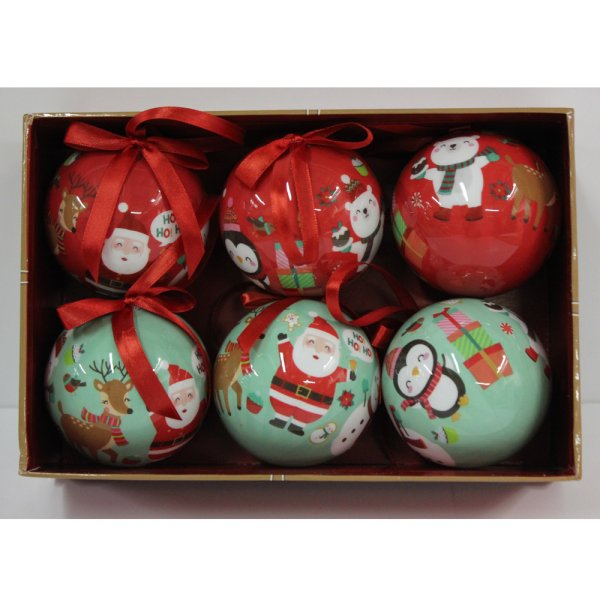 BAUBLES GRN&RED SET OF 6 2 ASS