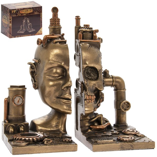 STEAM PUNK SKULL BOOKENDS