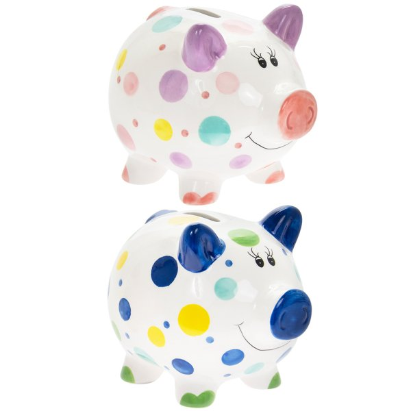 PIGGY MONEY BOX 2 ASST LGE