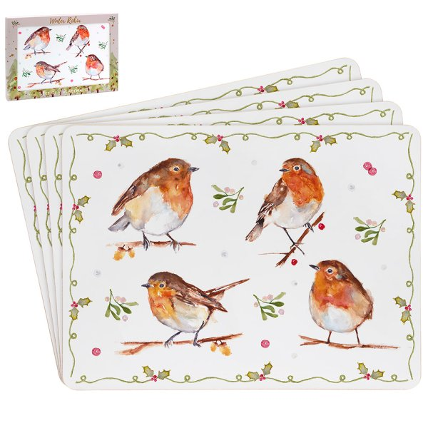 WINTER ROBINS PLACEMATS SET 4