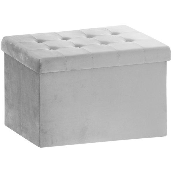 GREY VELVET FOLDING BOX LRGE